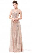 A-line V-neck Long Pearl Pink Tulle , Satin Prom Dresses(PRJT04-1931-C)