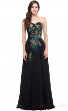 A-line Sweetheart Neckline Long Black Satin Chiffon Prom Dresses(PRJT04-1933-A)