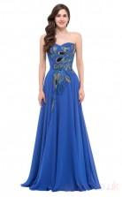 A-line Sweetheart Neckline Long Light Royal Blue Satin Chiffon Prom Dresses(PRJT04-1933-B)