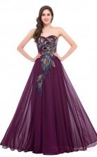 A-line Sweetheart Neckline Long Grape Satin Chiffon Prom Dresses(PRJT04-1933-D)