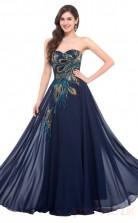 A-line Sweetheart Neckline Long Light Navy Satin , Silk Like Chiffon Prom Dresses(PRJT04-1933-E)