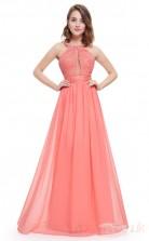 A-line Halter Long Watermlon Chiffon Prom Dresses(PRJT04-1941-C)
