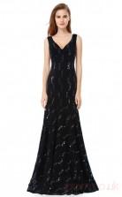 Mermaid V-neck Long Black Lace Prom Dresses(PRJT04-1944-B)