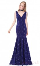 Mermaid V-neck Long Royal Blue Lace Prom Dresses(PRJT04-1944-C)
