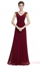 A-line V-neck Long Ruby Chiffon Prom Dresses with Short Sleeves (PRJT04-1955)
