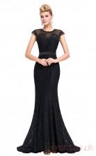 Mermaid Jewel Long Black Lace Prom Dresses with Short Sleeves (PRJT04-1958)