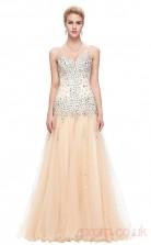 Mermaid V-neck Long Wheat Tulle Prom Dresses(PRJT04-1961)