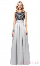 A-line Bateau Neckline Long Silver Satin , Lace Prom Dresses(PRJT04-1964)