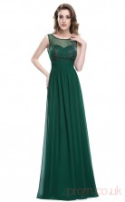 A-line Scoop Neckline Long Dark Green Chiffon Prom Dresses(PRJT04-1967)