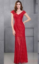 Mermaid V-neck Short Sleeve Long Ruby Lace Prom Dresses with Short Sleeves (PRJT04-1984)