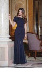 Mermaid Bateau Neckline Short Sleeve Long Light Navy Charmeuse , Tulle Prom Dresses with Short Sleeves (PRJT04-1989)