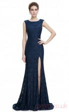 Mermaid Jewel Long Navy Blue Lace Prom Dresses(PRJT04-1996)