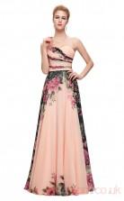 A-line Sweetheart Neckline Long Printing Chiffon Prom Dresses(PRJT04-2001)