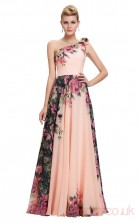 A-line One Shoulder Long Printing Chiffon Prom Dresses(PRJT04-2002)