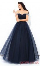 Navy Blue Tulle Off The Shoulder Floor-length A-line Quincenera Dress(JT2017)