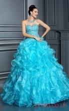Dodger Blue Organza Sweetheart Floor-length Ball Gown Quincenera Dress(JT2021)