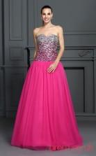 Fuchisa 30D Chiffon Sweetheart Floor-length Princess Quincenera Dress(JT2025)