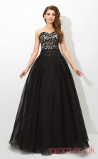 Black Lace Tulle Sweetheart Floor-length A-line Quincenera Dress(JT2030)