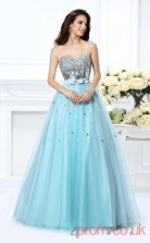 Powder Blue Organza Sweetheart Floor-length Princess Quincenera Dress(JT2044)