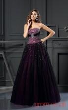 Grape Tulle Sweetheart Floor-length Princess Quincenera Dress(JT2048)