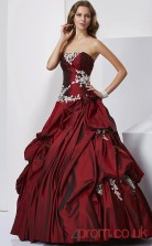 Dark Burgundy Taffeta Strapless Floor-length Ball Gown Quincenera Dress(JT2051)