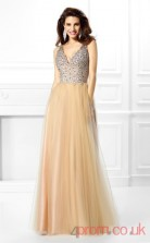 Champagne Sequined Tulle V-neck Floor-length A-line Quincenera Dress(JT2059)