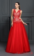 Red Lace Organza V-neck Floor-length A-line Quincenera Dress(JT2061)