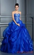 Royal Blue Organza Sweetheart Floor-length Ball Gown Quincenera Dress(JT2062)