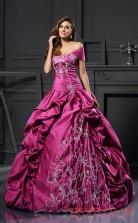 Dark Fuchsia Taffeta Off The Shoulder Floor-length Ball Gown Quincenera Dress(JT2064)