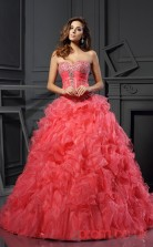 Watermelon Organza Sweetheart Floor-length Ball Gown Quincenera Dress(JT2065)