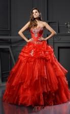 Orange Organza Sweetheart Floor-length Ball Gown Quincenera Dress(JT2071)