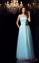 Sky Blue Tulle Strapless Floor-length A-line Quincenera Dress(JT2075)