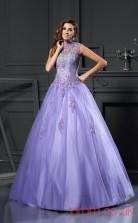 Lavender Organza High Neck Floor-length Princess Quincenera Dress(JT2076)