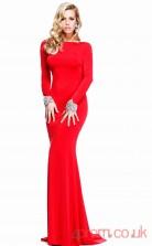 Red Spendex Bateau Floor-length Trumpet/Mermaid Wedding Formal Dress(JT2082)