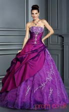 Purple Taffeta Organza Strapless Floor-length Ball Gown Quincenera Dress(JT2083)