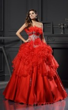 Red Charmeuse Organza Strapless Floor-length Ball Gown Quincenera Dress(JT2084)