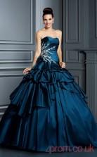 Navy Blue Taffeta Sweetheart Floor-length Ball Gown Quincenera Dress(JT2085)