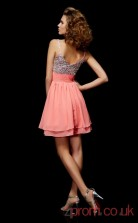 Watermelon Sequined Chiffon A-line Short V-neck Graduation Dress(JT2086)