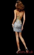Silver Sequined Sheath Short Strapless Graduation Dress(JT2091)