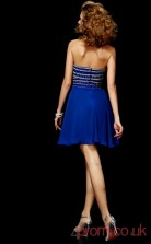 Royal Blue Chiffon A-line Short Strapless Graduation Dress(JT2101)