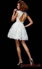 White Lace A-line Short Scalloped Short Sleeve  Graduation Dress(JT2102)