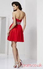 Red 30D Chiffon A-line Short Sweetheart Graduation Dress(JT2111)