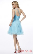 Sky Blue Tulle A-line Short One Shoulder Graduation Dress(JT2119)