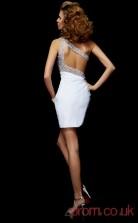 Black Chiffon Sheath Short One Shoulder Graduation Dress(JT2121)
