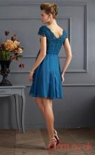Steel Blue Lace Chiffon A-line Short Scalloped Short Sleeve Graduation Dress(JT2136)