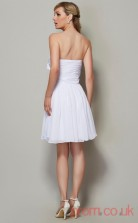 White Chiffon A-line Short Strapless Graduation Dress(JT2139)