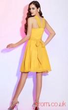 Gold Chiffon A-line Short Halter Graduation Dress(JT2150)