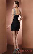 Black Chiffon Sheath Short V-neck Graduation Dress(JT2166)