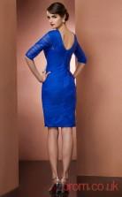 Blue Tulle Sheath Short Asymmetric Half Sleeve Graduation Dress(JT2167)