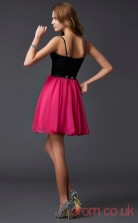 Fuchisa Chiffon A-line Short Straps Graduation Dress(JT2178)